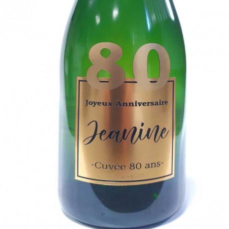 Exemple d'étiquettes de bouteille de Champagne pour anniversaire 80 ans