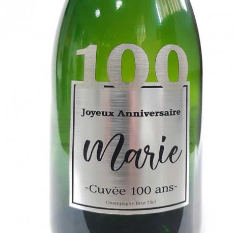 Exemple d'étiquettes de bouteille de Champagne pour anniversaire 100 ans
