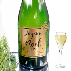"""Bouteille de Champagne """"Joyeux Noël"""" Or"""