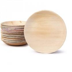 25 petites assiettes rondes en feuille de Palmier Biodégradables