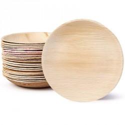 25 grandes assiettes rondes en feuille de Palmier Biodégradables
