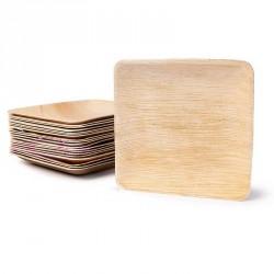 25 petites assiettes carrées en Feuille de Palmier Biodégradables