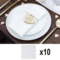 10 serviettes blanches pour repas de fêtes : Anniversaire, mariage.