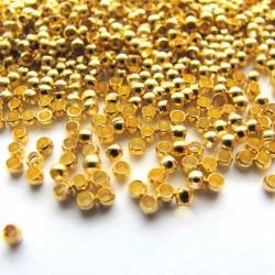 Sachet de 60 perles a ecraser coloris or 2mm