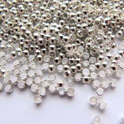 Sachet de 60 perles a ecraser coloris argent 2mm