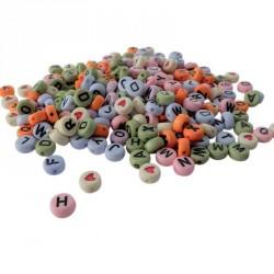 Sachet de 250 perles alphabet multicolore