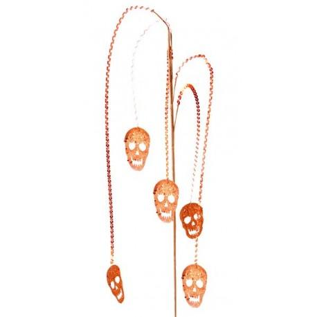 Branche tête de mort halloween orange