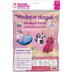 Kit plastique dingue marque-pages animaux licorne