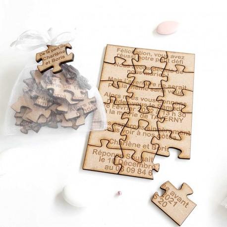 Faire Part Puzzle en bois