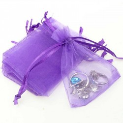 4 Sacs organza violet 12 x 10 cm