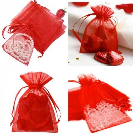 12 Sacs organza Rouge 13 x 10 cm