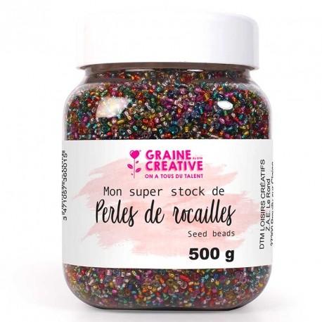 Pot de 500g de perles de rocaille translucides