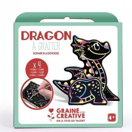 Boite de 4 cartes à gratter 3d dragon