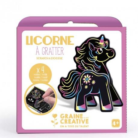 Boite 4 cartes a gratter 3d assorties design licorne