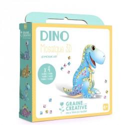4 cartes mosaïque 3d assorties dinosaure