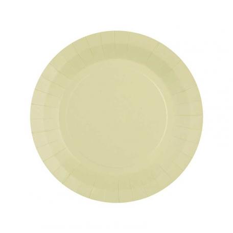 10 petites assiettes en carton couleur Champagne