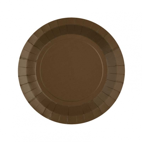 Petite assiette en carton chocolat biodégradable