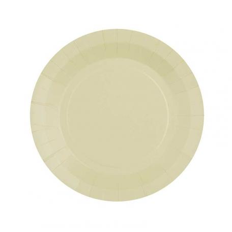 10 petites assiettes en carton ivoire