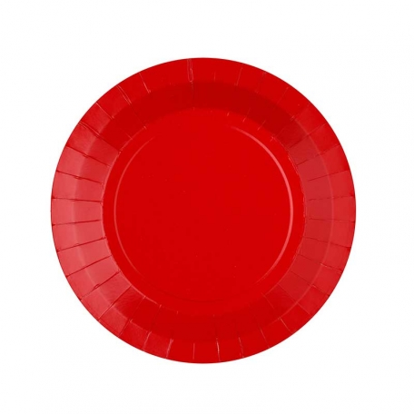 Petite assiette en carton rouge biodégradable