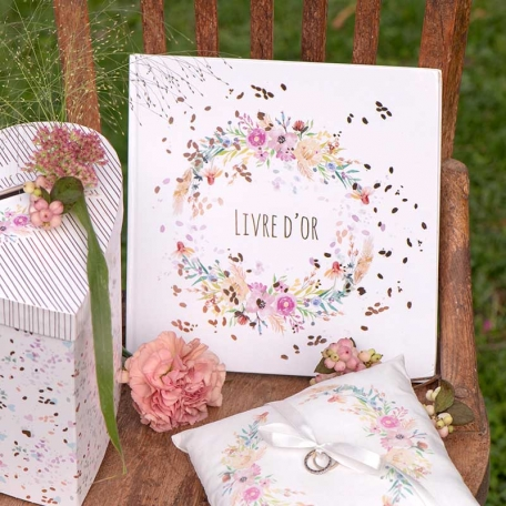Livre d'or mariage Fleuri