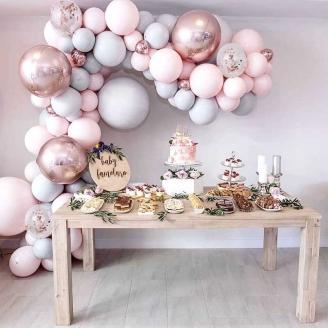 Guirlande de ballon en Kit rose et gris 169 pièces