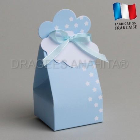 Boite à dragées bleu pour naissance