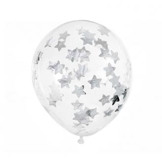 6 Ballons à confettis étoiles 30 cm