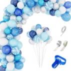 Guirlande de ballon dégradé de bleue 134 pièces