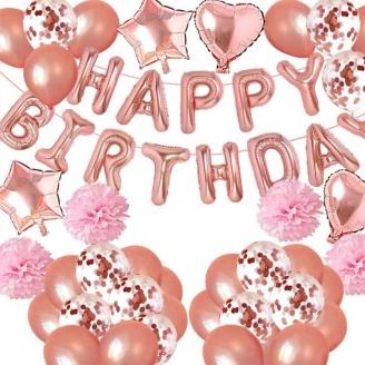 Kit ballon Happy Birthday rose gold 69 pièces