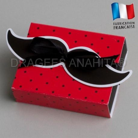 contenant à dragées moustache