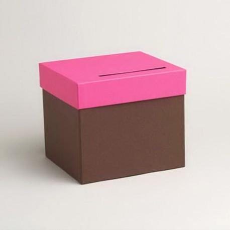 Urne de couleur chocolat et fuchsia