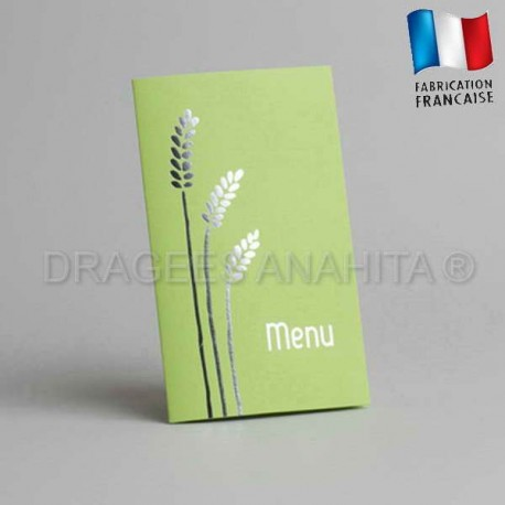 carte menu  communion vert