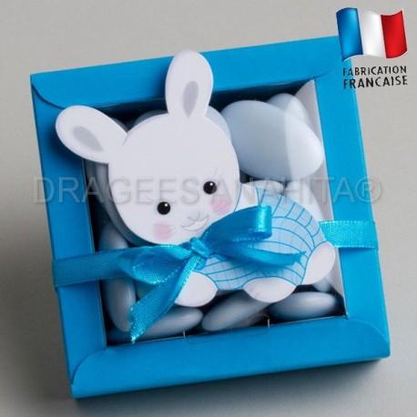 contenant dragées bapteme lapin bleu