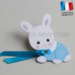 etiquette dragées bapteme lapin bleu