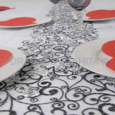 Chemin de table arabesque noir pailleté