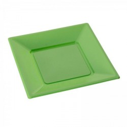 Assiette jetable verte carrée X 12