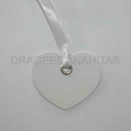 12 Etiquettes coeur avec ruban couleur blanc