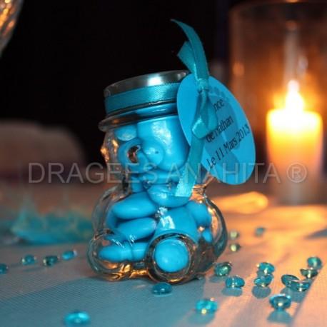 contenant ourson bleu verre dragées