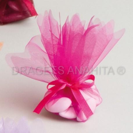 Tulle à dragées de couleur fushia