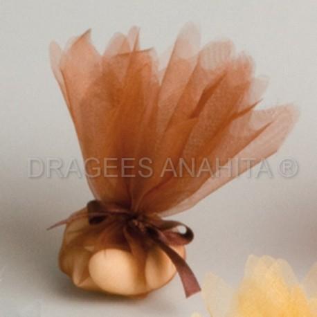 Tulle à  dragées de couleur marron tulle à dragées pour mariage