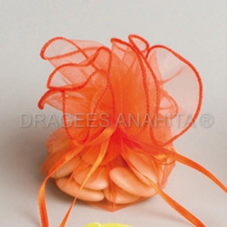 Tulle a dragées orange avec attache pour cérémonie