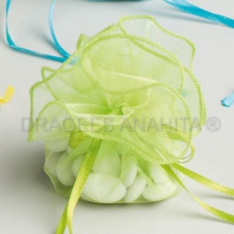 Tulle a dragées vert anis avec attache pas cher pour baptême