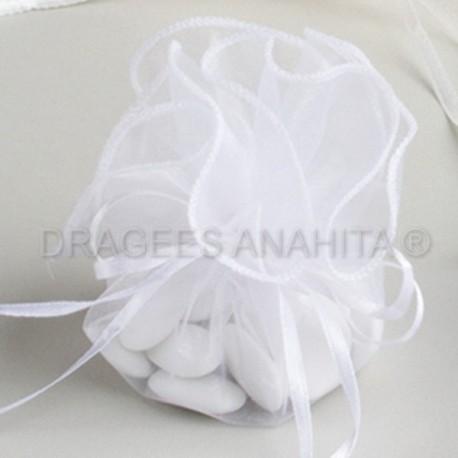 Tulle a dragées blanche avec attache pas cher
