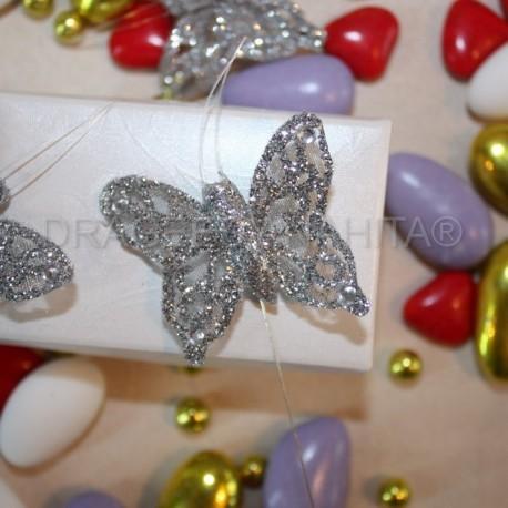 Papillon Argenté pour boites à dragées