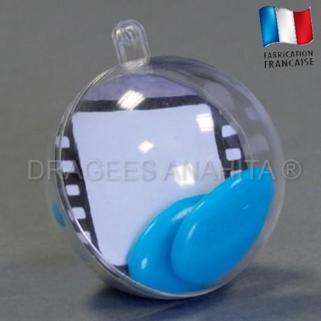 Boule à dragés transparente thème cinéma