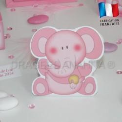 Ballotin à dragées éléphant rose