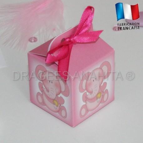 Cube pour dragées éléphant rose