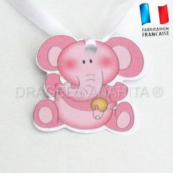 Etiquette éléphant rose