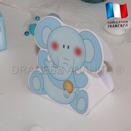Ballotin à dragées éléphant bleu