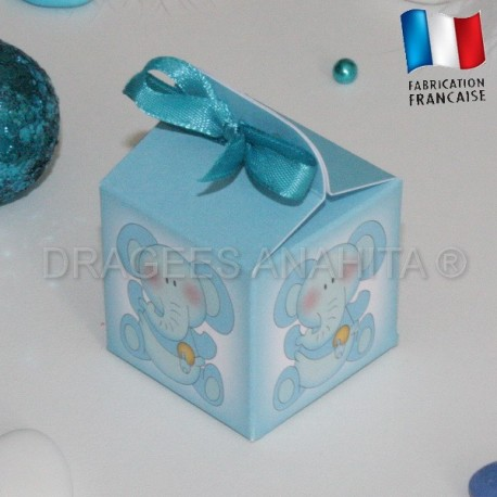 Cube pour dragées éléphant bleu